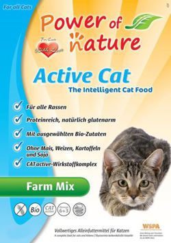 Power of Nature Active Cat Farm Mix - Sucha karma dla kota (Kurczak + Łosoś + Jagnięcina + Brązowy Ryż) 7.5kg